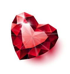 Shiny isolated red ruby heart shape with shadow on vector