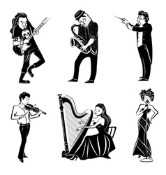 Musicians black icons set vector