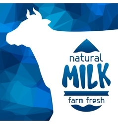 Milk emblem design on abstract polygon background vector