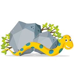 Yellow snake crawling by the stone vector