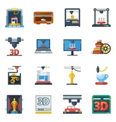 3d printing flat icons collection vector