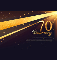 70th anniversary celebration card template vector