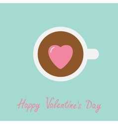 Tea cup with coffee pink heart marshmallow happy vector