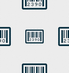 barcode icon sign Seamless pattern with geometric vector image