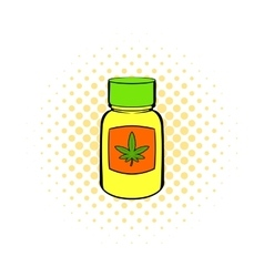 Bottle with buds of marijuana icon comics style vector