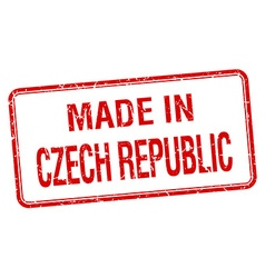 Made in czech republic red square isolated stamp vector