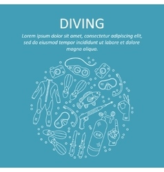 Card with diving equipment vector