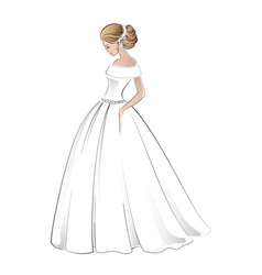 Beautiful bride in wedding dress with pretty hair vector