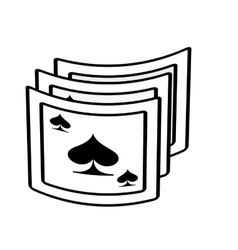 Aces spades poker playing card magician outline vector