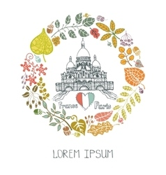 Autumn in parisleaves wreath and sacre coeur vector