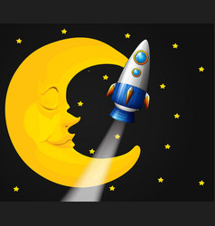 Background scene with moon and rocket vector