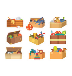 boxes full kid toys cartoon cute graphic play vector image