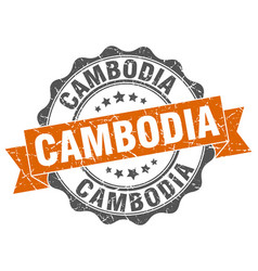 Cambodia round ribbon seal vector