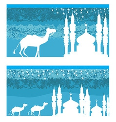 Camel through desert with arab skyline views vector image