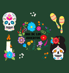 Colorful symbols dia de los muertos holiday day of vector