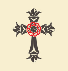 Cross and crown of thorns vector