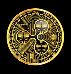 crypto currency ripple golden symbol vector image vector image