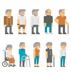Flat design senior citizens vector image