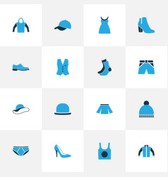 Garment colorful icons set collection of elegant vector