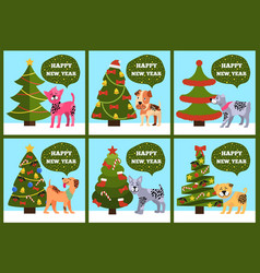 greeting cards on green merry wish puppy tree set vector image vector image