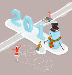 Happy new year 2018 and merry christmas flat vector