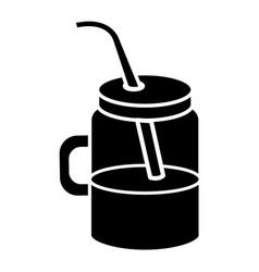 Jar with juice fruit vector