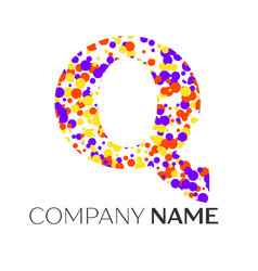 Letter q logo with purple yellow red particles vector