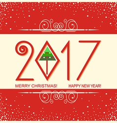 Merry christmas and Happy new year card with text vector image vector image