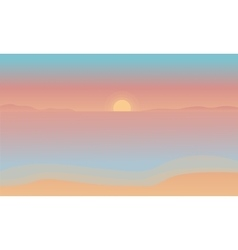 Silhouette of beach at the sunset vector image