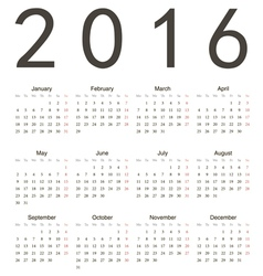 Simple european square calendar 2016 vector