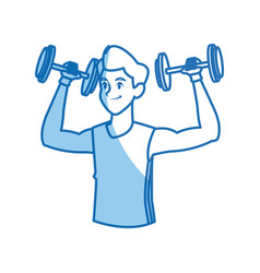Sport man dumbbell fitness gym practice workout vector