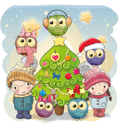 two cute cartoon boy and girl and five owls vector image vector image