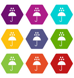 umbrella and rain drops icon set color hexahedron vector image
