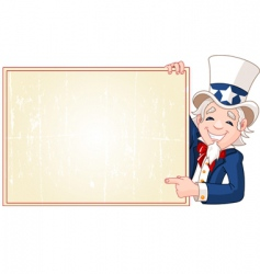 uncle Sam with sign vector image vector image