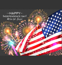 Usa independence day poster with firework and flag vector