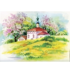 Watercolor painting of house in woods vector