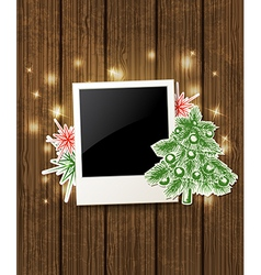 Wooden background with photo and Christmas tree vector image vector image