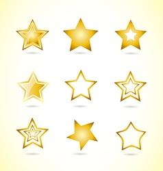 Yellow star logo icon symbol set vector