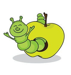 Smiling worm from green apple vector image