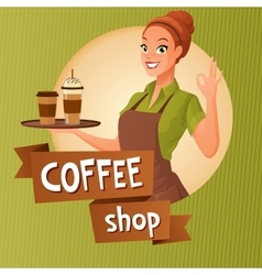 Barista waitress with cups coffee showing ok sign vector