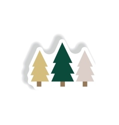 stylish icon in paper sticker style Landscape Fir vector image