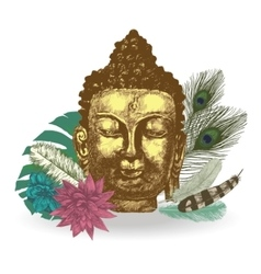 Buddha head  Hand drawn vector image