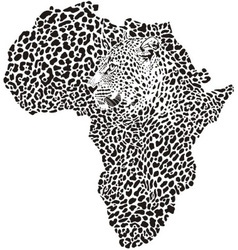 Leopard skin and head in silhouette africa vector