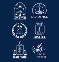Law firm lawyer office legal center symbol set vector