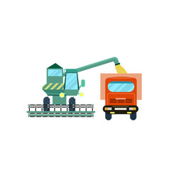 Agriculture combine harvester with tractor icon vector