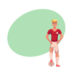 Soccer player in uniform standing one foot on vector