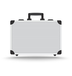 3D Realistic aluminum briefcase vector image
