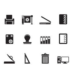 Silhouette print industry icons vector