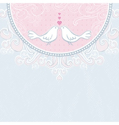 Valentine hand draw doves pink background vector