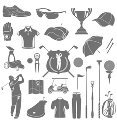 Icons and symbols of golf vector